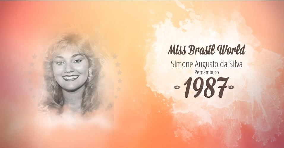 Simone Augusto da Silva representou Pernambuco e venceu o Miss Brasil World 1987