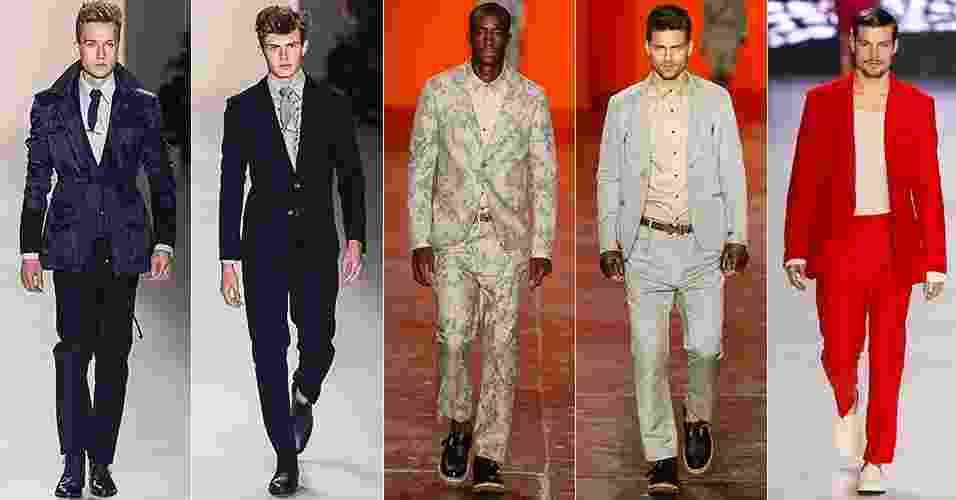 Terno casual: assim como as marcas internacionais, as brasileiras buscam novas ideias para atualizar a peça mais tradicional do guarda-roupa masculino: o terno. Os recursos mais utilizados foram a silhueta ajustada, o paletó mais curto, a estampa, novos materiais e cores fortes - Silvia Boriello/UOL