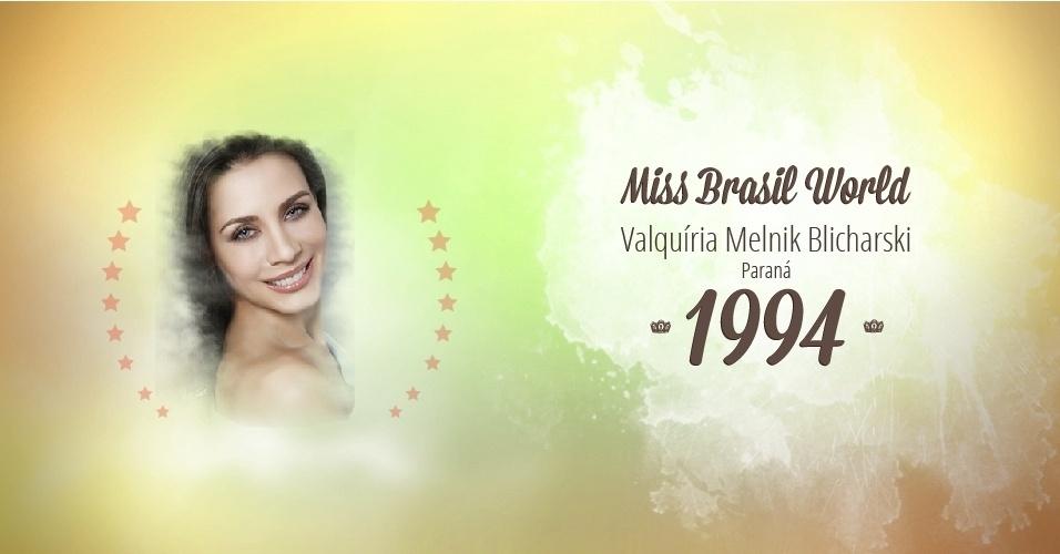 Valquíria Melnik Blicharski representou Paraná e venceu o Miss Brasil World 1994