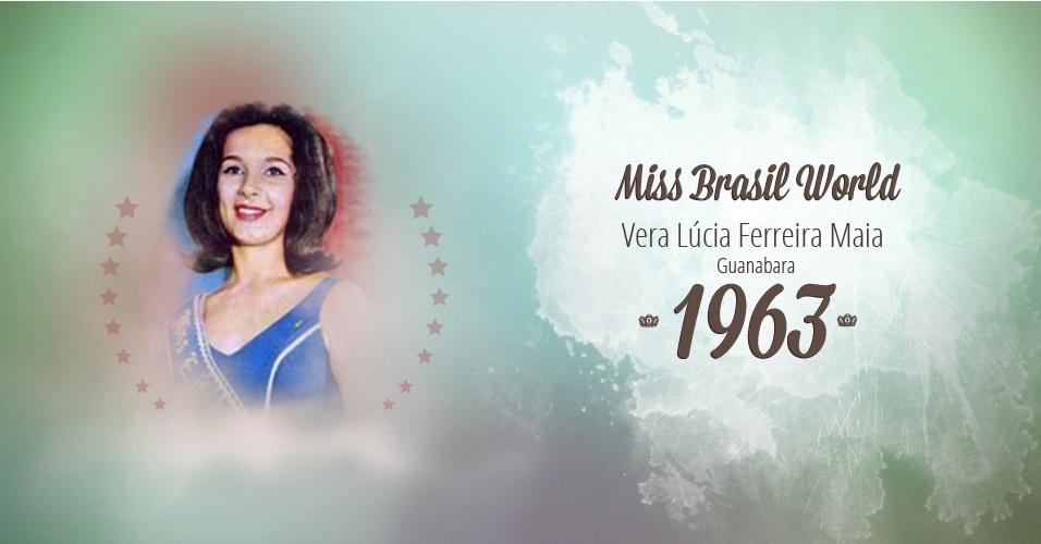 Vera Lúcia Ferreira Maia representou Guanabara e venceu o Miss Brasil World 1963
