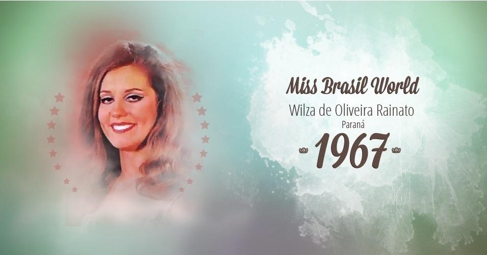 Wilza de Oliveira Rainato representou Paraná e venceu o Miss Brasil World 1967
