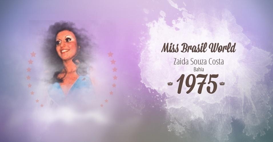 Zaida Souza Costa representou Bahia e venceu o Miss Brasil World 1975