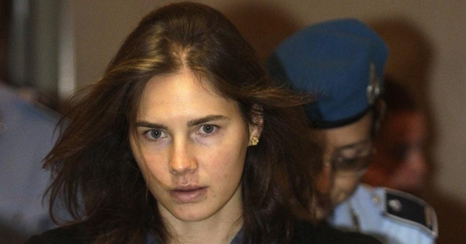 26.mar.2013 - Imagem de arquivo de Amanda Knox, estudante americana condenada pela morte de sua colega de quarto, Meredith Kercher, em novembro de 2007, na Itália
