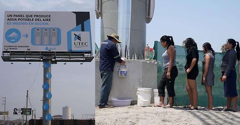 26.mar.2013 - Pesquisadores da Universidade de Engenharia e Tecnologia de Lima, no Peru, desenvolveram um outdoor que transforma o ar em água potável, ao custo de US$ 1.200 (cerca de R$ 2.400). O painel tem cinco dispositivos internos que extraem vapor de água do ar usando um condensador e filtros. A água é armazenada em tanques no topo da estrutura e, depois de filtrada, ela desce por um cano conectado a uma torneira. O outdoor produziu mais de 9.000 litros de água desde que foi instalado, uma média 96 litros por dia