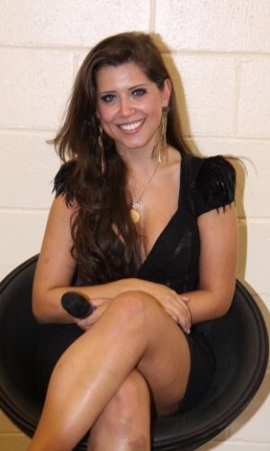 "26.mar.2013 - Terceira colocada do ""BBB13"", Andressa afirmou que deixa o programa "" satisfeita demais da conta"""