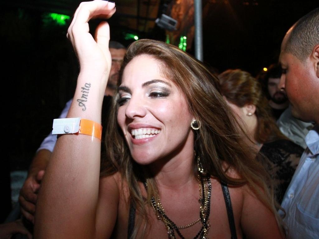 27.mar.2013 - Anamara chega à festa de encerramento do