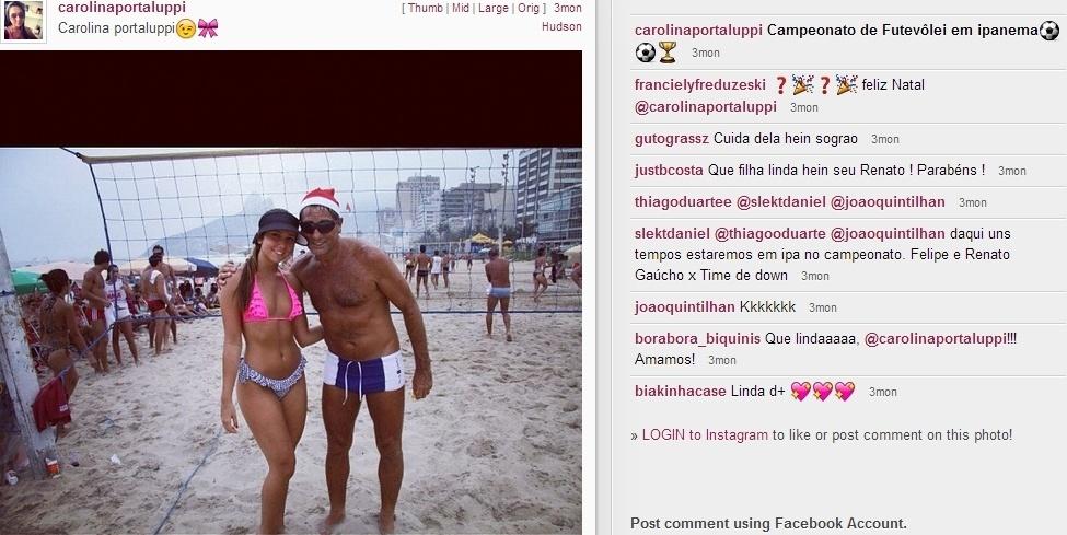 Carolina Portaluppi ao lado do pai, Renato Gaúcho, na areia de praia no Rio de Janeiro