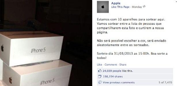 Falso sorteio de iPhone 5 é compartilhado por quase 200 mil usuários no Facebook - Reprodução/IDG Now