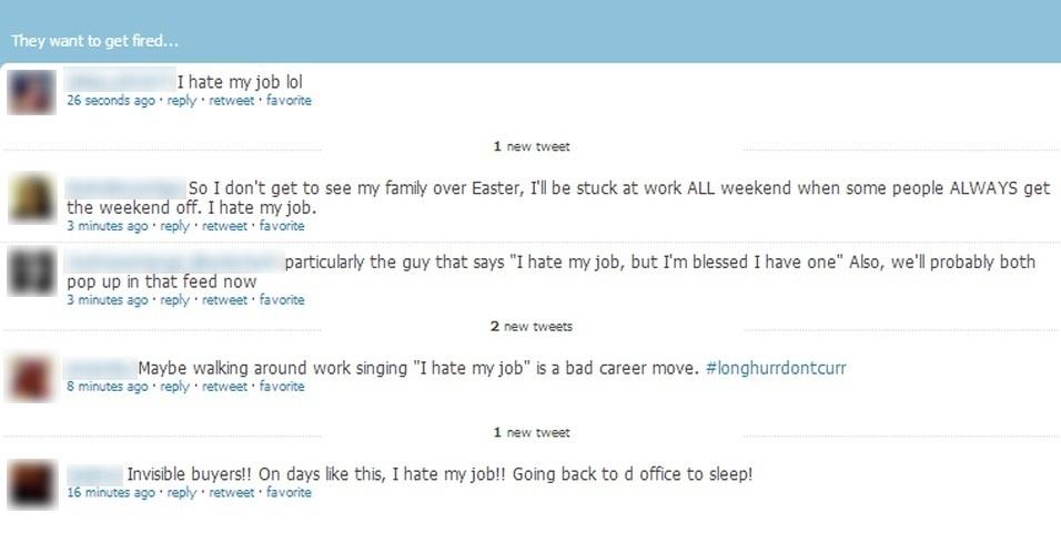 O 'FireMe!' é um aplicativo web para Twitter que afirma localizar usuários que estão postando frases contra seu próprio emprego. No site, parecem expressões como 'odeio meu chefe', 'odeio meu trabalho', 'vou voltar para a cama', entre outras, como está na imagem