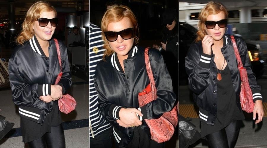 27.mar.2013 - Lindsay Lohan embarca em Los Angeles rumo ao Brasil