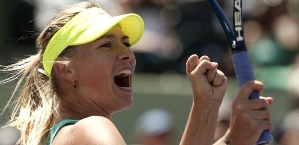 28.03.2013 - Maria Sharapova comemora vitória sobre Jelena Jankovic nas semifinais do Masters 1000 de Miami