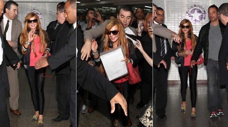 28.mar.2013 - Lindsay Lohan desembarca no aeroporto internacional de São Paulo