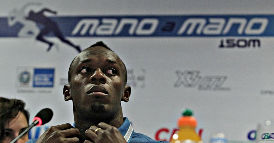 28.mar.2013 - Usain Bolt concede entrevista coletiva no Rio de Janeiro, onde disputará prova de 150 m na praia de Copacabana no dia 31 de março