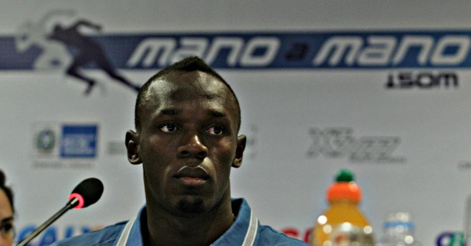 Usain Bolt dá entrevista coletiva no Rio de Janeiro