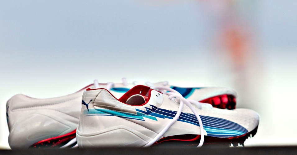 29.03.2013 - Tênis que o velocista jamaicano Usai Bolt usa para correr
