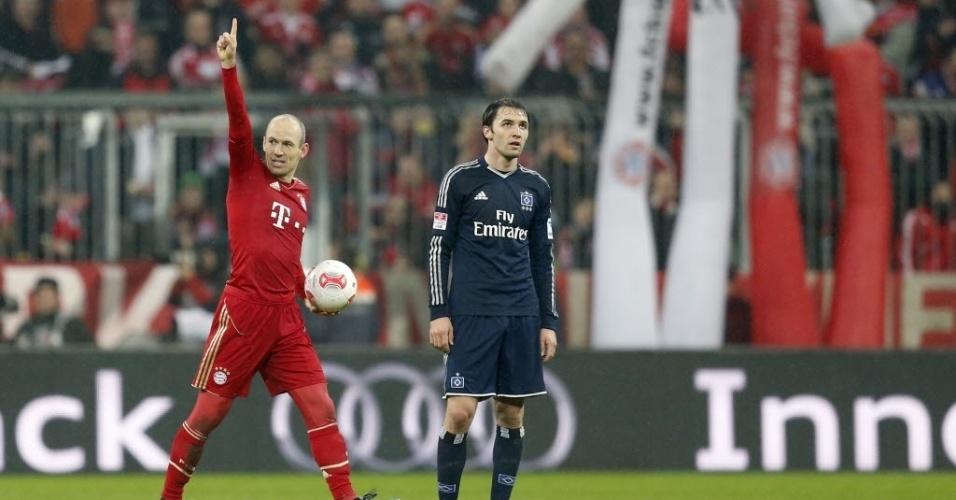 30.mar.2013 - Robben comemora seu gol na goleada do Bayern de Munique, virtual campeão alemão, sobre o Hamburgo