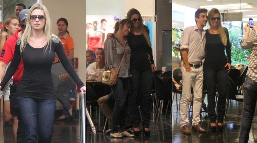 """1.abr.2013 - Fernanda, vencedora da 13ª edição do """"Big Brother Brasil"""", foi tietada durante passeio em um shopping da zona oeste do Rio"""