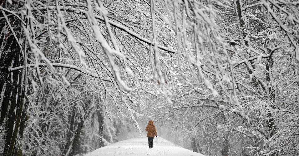 1°.abr.2013 - Mulher caminha por rua coberta pela neve no parque Mlociny Varsóvia, na Polônia, nesta segunda-feira (1º). Depois de uma Semana Santa fria e com fortes nevascas, o país amanheceu ainda com baixas temperaturas nesta segunda de Páscoa