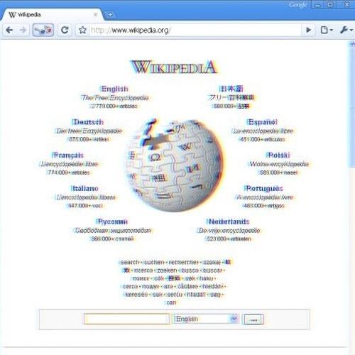 2009 - Seu monitor não está desregulado. A imagem está estranha, pois ela está exibindo conteúdo em 3D: trata-se do navegador Chrome 3D, que só existiu durante o dia da mentira