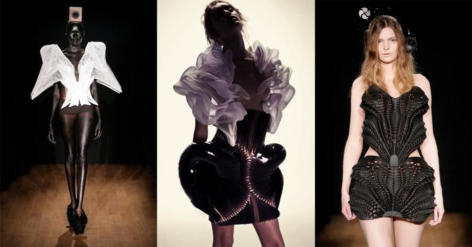 As roupas acima foram feitas com o uso de impressões 3D pela estilista Iris Van Herpen. Ela desenvolve as peças da coleção em parceria com o MIT (Massachussets Instute of Technology) e da Materialise, empresa especializada na confecção de objetos em impressoras 3D