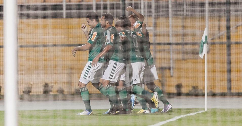 02.04.2013 - Palmeirenses comemoram gol de Caio no primeiro tempo da partida contra o Tigre pela Libertadores
