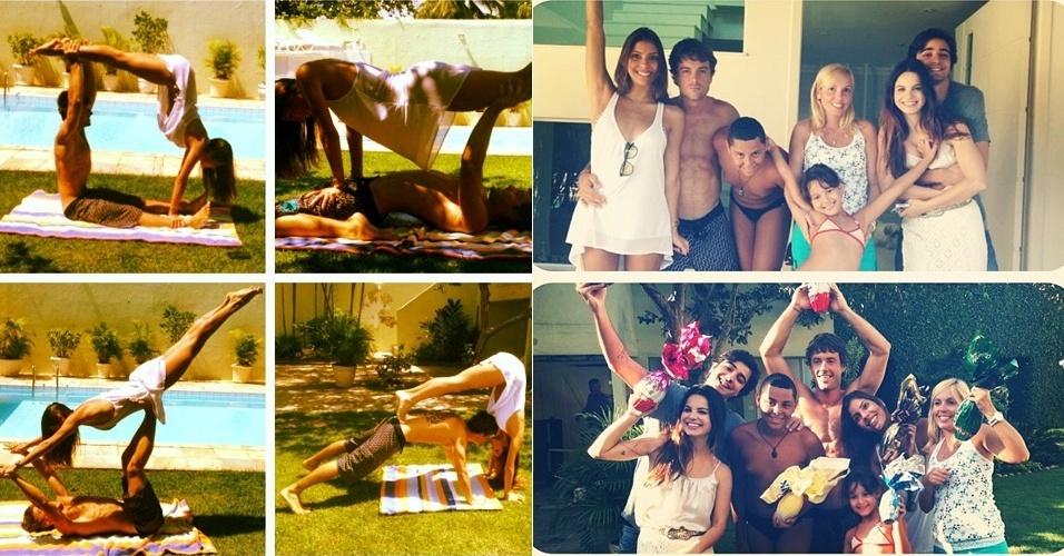 1º.abril.2013 - Kayky Brito e a nova namorada Raina fazem ginástica e posam ao lado da família na Páscoa