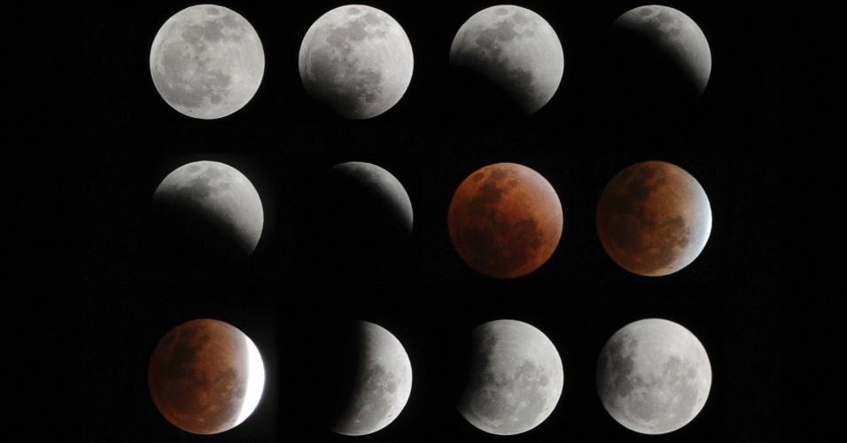 2.abr.2013 - Composição mostra vários momentos do eclipse total da Lua no céu de Hefei, cidade da província de Anhui, na China, em dezembro de 2011. O eclipse total da Lua ocorre quando a Terra passa entre o Sol e a Lua, projetando uma sombra sobre a Lua