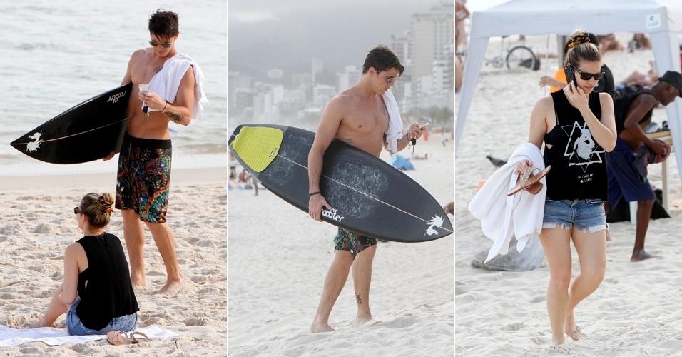2.abr.2013 - Rômulo Arantes Neto curte praia acompanhado em Ipanema, no Rio de Janeiro