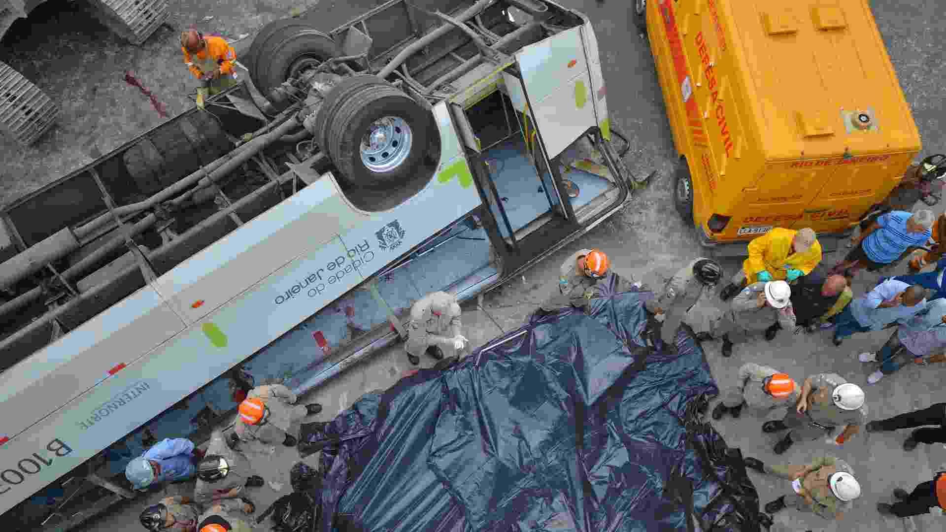 2.abr.2013 - Um micro-ônibus caiu do viaduto Brigadeiro Trompowski na pista lateral da avenida Brasil, no Rio de Janeiro, na tarde desta terça-feira, matando sete pessoas. O Corpo de Bombeiros está no local resgatando as vítimas. Multidão já cerca a avenida. O trânsito está congestionado no local - Bruno de Lima/Frame