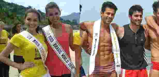 A Miss Ilha Grande World, Gabrielle Vilela, posa ao lado da Miss Brasil World 2012, Mariana Notarangelo, e o Mister Tocantins, Douglas Schwengber, ao lado do Mister Brasil 2012, William Rech, após vencerem a prova de esportes - Divulgação/Estúdio Xis