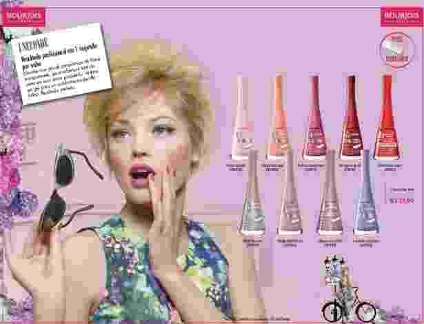 Página de catálogo da Racco com produtos da marca francesa Bourjois - Divulgação