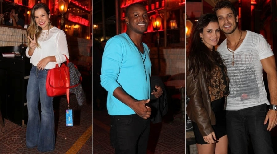 2.abr.2013 - Fernanda Souza, Thiaguinho, Kamilla e Eliéser jantam no mesmo restaurante em SP