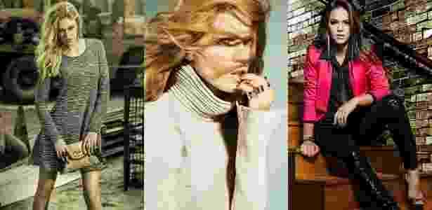 Duas tops em campanhas de marcas nacionais: a brasileira Viviane Orth (esq.), em campanha da Gata Bakana, e a russa Masha Novoselova (centro), em fotos para a Letage; à direita, Bruna Marquezine em campanha da Universe Teen - Divulgação