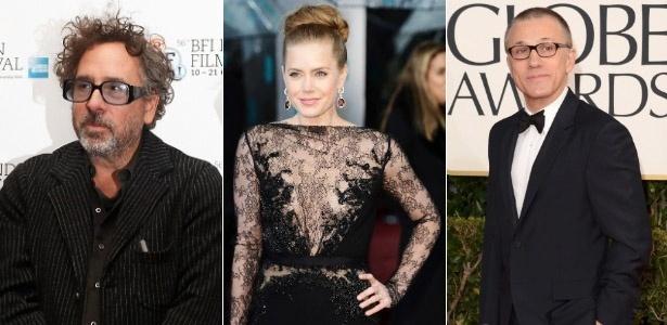 O diretor Tim Burton e os atores Amy Adams e Christoph Waltz