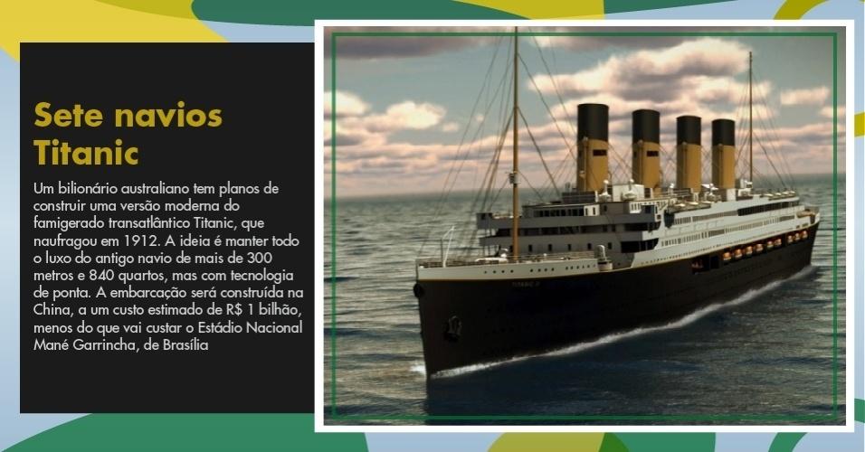 Um bilionário australiano tem planos de construir uma versão moderna do famigerado transatlântico Titanic, que naufragou em 1912, a um custo estimado de R$ 1 bilhão, menos do que vai custar o Estádio Nacional Mané Garrincha, de Brasília