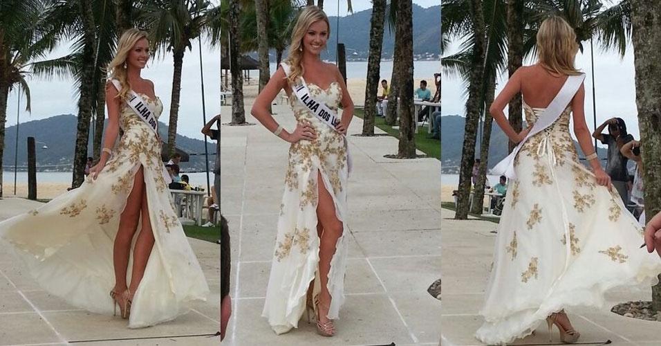 4.abr.2013 - Miss Ilha dos Lobos desfila em traje de gala durante prova do Miss Brasil World 2013