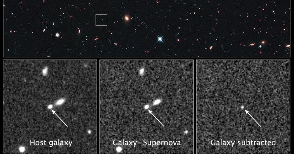 4.abr.2013 - O telescópio espacial Hubble quebrou o recorde na busca da supernova mais distante ao detectar uma que explodiu há mais de 10 bilhões de anos. A SN UDS10Wil, apelidada de SN Wilson, pertence a uma classe especial de supernovas, a Type Ia supernovae, que é muito usada pelos astrônomos para medir a expansão do espaço, pois  geram um nível consistente de brilho e ainda dão pistas sobre a energia escura, a misteriosa força que explica esse crescimento do cosmos
