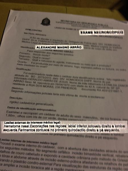 4.abr.2013 - Página do laudo necroscópico do cantor Chorão realizado pelo Instituto Médico Legal