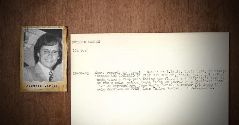 """4.abril.2013 - A ficha de Roberto Carlos faz menção a uma reportagem do jornal """"O Estado de S. Paulo"""" na qual o cantor é acusado de dar um calote na Vasp (empresa aérea estatal de São Paulo)"""