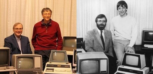 Paul Allen e Bill Gates, cofundadores da Microsoft, em fotos de 2013 e 1981 --este último sendo o ano em que a empresa lançou o MS-DOS - Reprodução/Twitter/PaulGAllen