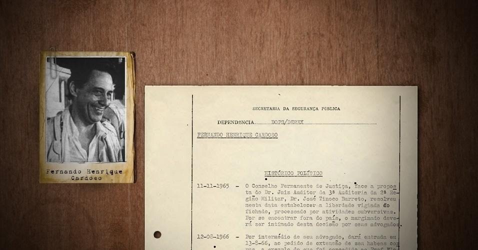 """4.abril.2013 - Também figura na lista de fichados o ex-presidente Fernando Henrique Cardoso, que na época era considerado """"subversivo"""" e foi expulso da USP (Universidade de São Paulo) onde ministrava aula, juntamente com os teóricos Florestan Fernandes e Caio Prado Júnior"""