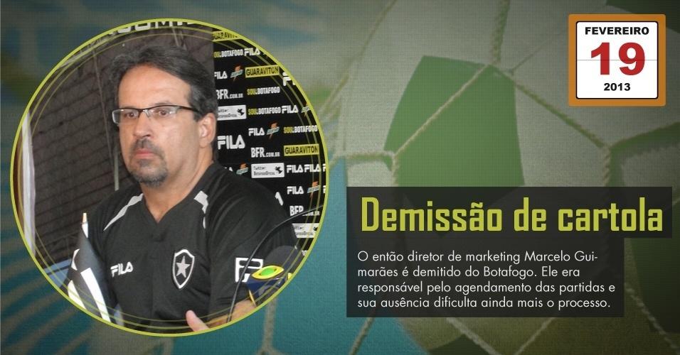 O então diretor de marketing Marcelo Guimarães é demitido do Botafogo. Ele era responsável pelo agendamento das partidas e sua ausência dificulta ainda mais o processo