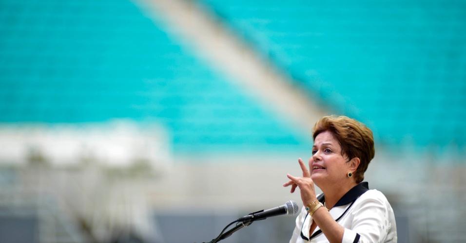 05.abr.2013 - A presidente Dilma Rousseff discursou na inauguração da Arena Fonte Nova, em Salvador, na manhã desta sexta-feira