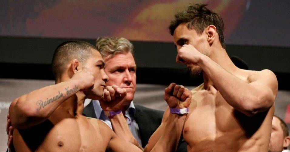 05.abr.2013 - Campeão do TUF 14, brasileiro Diego Brandão encara Pablo Garza antes do combate deles no UFC Suécia
