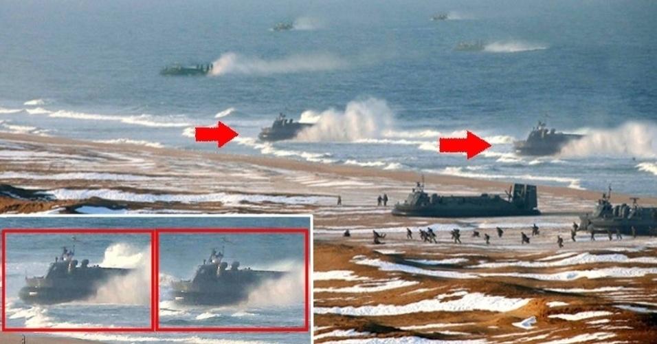 5.abr.2013 - A foto publicada pelo governo norte-coreano, que mostra um suposto treinamento militar na costa marítima do país, foi analisada pelo ''The Atlantic'', que descobriu alguns retoques de Photoshop na imagem. As duas embarcações apontadas com setas vermelhas são exatamente as mesmas. As outras duas menores, ao fundo da imagem, também. Segundo o jornal, é possível notar as ''bordas suaves, a falta de uma sequência visível e cores estranhas''