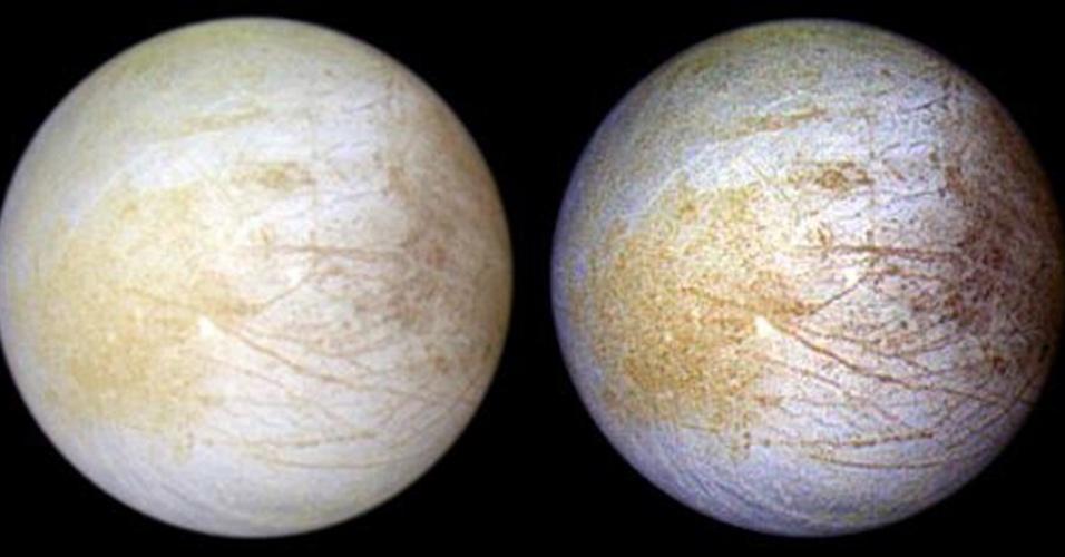 5.abr.2013 - Grande parte da superfície da Europa, uma lua de Júpiter, tem peróxido de hidrogênio em abundância, mostra novo estudo da Nasa (Agência Espacial Norte-Americana). Os pesquisadores argumentam que, se esse elemento se misturar com o grande oceano que há debaixo da crosta de gelo, poderia surgir uma importante fonte de energia para formas simples de vida. Acima, registros natural (à esquerda) e em infravermelho (à direita) realçam as diferenças químicas da superfície da lua
