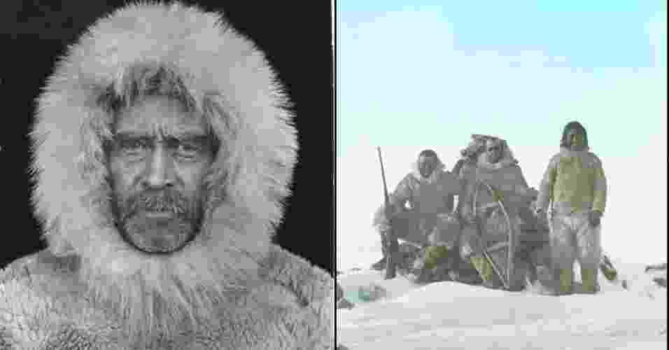 5.abr.2013 - Robert Peary (à esquerda) e Matthew Henson são considerados os primeiros homens a conquistar o Polo Norte. A dupla contou com a ajuda de  quatro esquimós (à direita) para chegar ao centro geográfico do continente Ártico no dia 6 de abril de 1909. - Robert E. Peary Collection/NGS