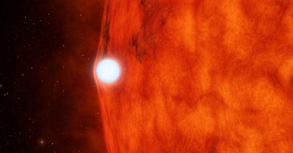 """5.abr.2013 - Toda vez que a anã-branca do sistema duplo de estrelas KOI-256 passa em frente à estrela vermelha, ela entorta a sua luz. Isso sempre vai ocorrer por causa da ação do campo gravitacional da anã-branca, que é uma estrela densa como o nosso Sol, mas que já está no fim da vida. Segundo a Teoria Geral da Relatividade, todos os corpos com grande massa criam curvaturas significativas na malha do espaço-tempo, exigindo, assim, a atração de corpos menores - apesar de ser 40 vezes menor que a sua companheira vermelha, a anã-branca é mais massiva e portanto, o """"elemento principal"""" do conjunto. Essa é a primeira vez que o fenômeno descrito pelof físico Albert Einstein em 1916 é observado em um sistema duplo de estrelas. A descoberta foi feita pelo telescópio espacial Kepler, da Nasa (Agência Espacial Norte-Americana), após monitorar as mudanças no brilho da estrela vermelha"""