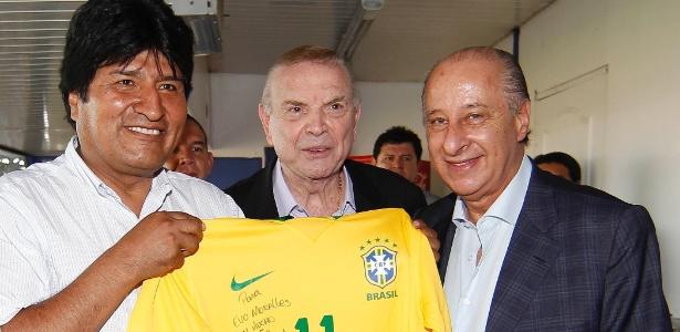 Evo Morales, presidente boliviano, ao lado de Marin e Del Nero