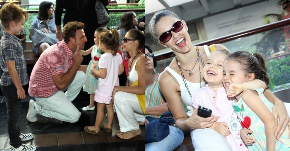 6.abr.2013 - Bianca Rinaldi e Cássio Reis levam os filhos ao teatro, no Rio